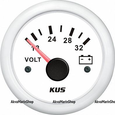Вольтметр белый с белым ободком аналоговый 18-32 В, KUS Арт Vdn KY13305