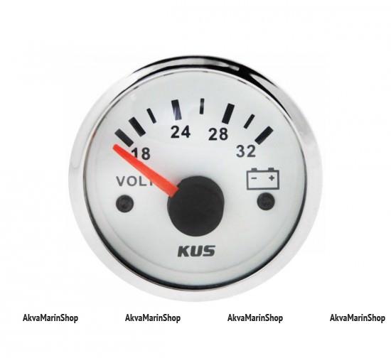 Вольтметр белый с нержавеющим ободком аналоговый 18-32 В, KUS Арт WM KY13101