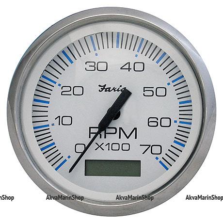 Тахометр белый с нерж. ободком, со счетчиком моточасов 7000 об. Faria, серия Chesapeake White SS Арт MM 10246873