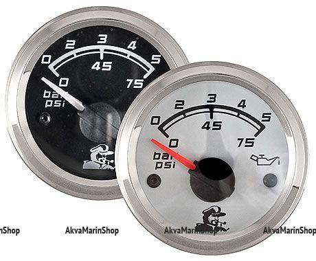 Указатель давления масла белый с нерж окантовкой 0-10 бар, Мореман Арт MM 10254407