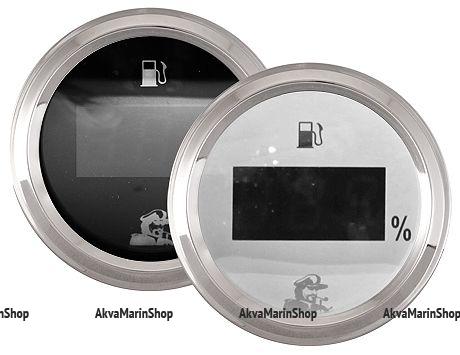 Указатель уровня топлива цифровой белый с нерж окантовкой 0-190 Oм Мореман Арт MM 10254411