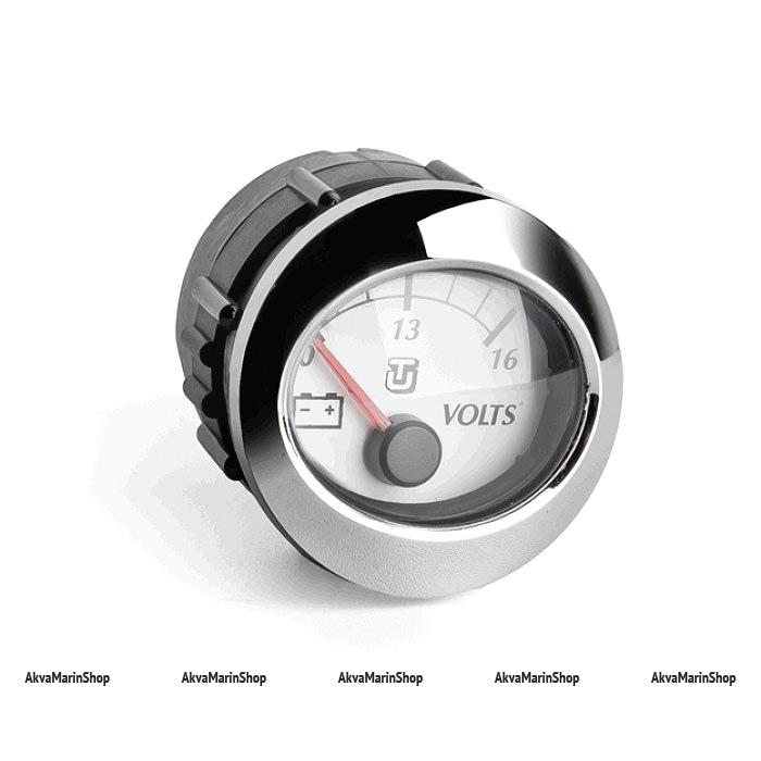 Вольтметр белый с хромированным ободком аналоговый 10-16 В, UFLEX Арт WM 66649F