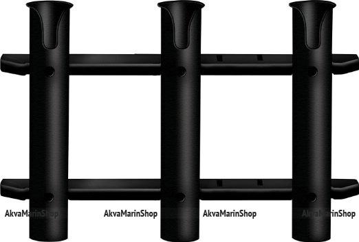 Держатель спиннинга на плоскость строенный черного цвета Арт KMG 210134