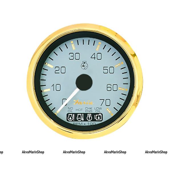 Тахометр белый с золотой окантовкой аварийная сигнализация, 7000 об. FARIA, серия SIGNATURE GOLD STYLE Арт TDC 34550