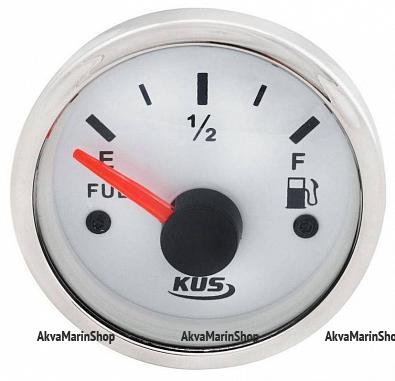 Указатель уровня топлива белый с нержавеющим ободком, 240-33 ОМ, KUS Арт WM KY10101
