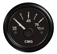Указатель давления масла чёрный с чёрной окантовкой WEMA Арт KMG 510026
