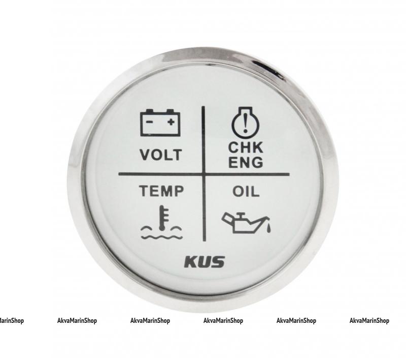 Блок аварийной сигнализации двигателя белый с нерж окантовкой,12/24V, KUS Арт WM KY79103