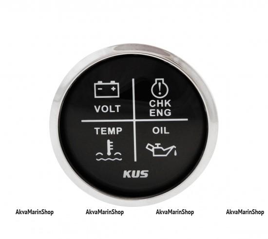 Блок аварийной сигнализации двигателя черный с нерж окантовкой,12/24V, KUS Арт WM KY79002
