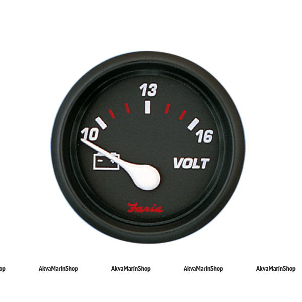 Вольтметр черный с черной окантовкой аналоговый PRO RED STYLE, FARIA Арт TDC 14605