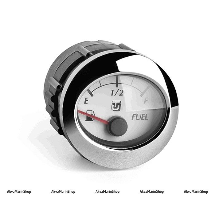 Указатель уровня топлива белый с хромированным ободком,0-190 ОМ, UFLEX Арт WM 66645X