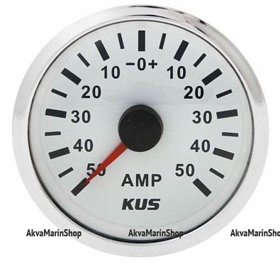 Амперметр белый с нержавеющим ободком, аналоговый, 50-0-50 А KUS Арт WM KY06103