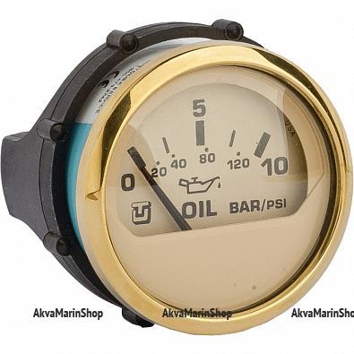 Указатель давления масла бежевый с золотой окантовкой,12/24V, UFLEX Арт WM 62066H