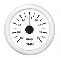 Амперметр белый с белой окантовкой аналоговый с сопротивлением 0-190 Ом WEMA Арт KMG 510031