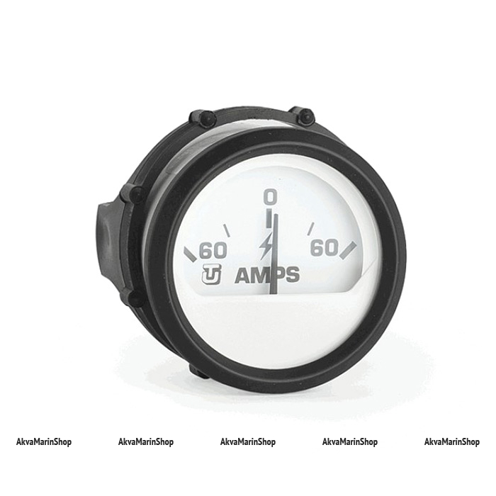 Амперметр белый с черным ободком аналоговый 60-0-60 А FARIA Арт WM 60540S