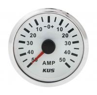 Амперметр белый с нержавеющим ободком аналоговый от 0 до 50 Ампер KUS Арт VDNJMV00288_KY06103
