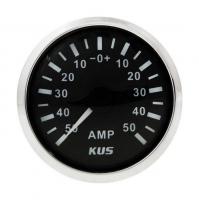 Амперметр черный с нержавеющим ободком аналоговый от 0 до 50 Ампер KUS Арт VDNKY06007