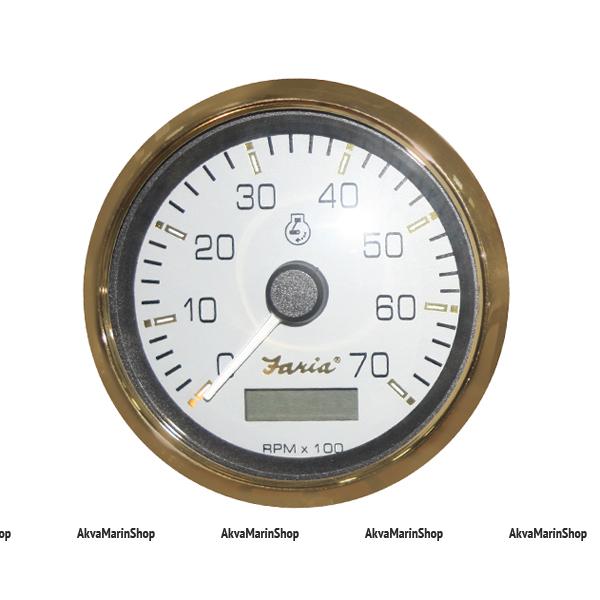 Тахометр белый с золотым ободком, счетчик моточасов, 7000 об. FARIA, серия SIGNATURE GOLD STYLE Арт TDC 34540