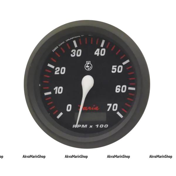 Тахометр черный с черным ободком, счетчик моточасов, 7000 об. FARIA, серия PRO RED STYLE Арт TDC 34640