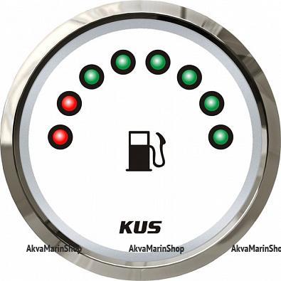 Указатель уровня топлива белый с нержавеющим ободком, 8 светодиодов, 240-33 ОМ, KUS Арт WM KY10118