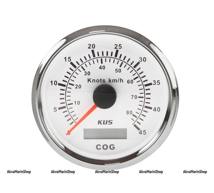 GPS-Спидометр аналоговый белый с нерж окантовкой KUS Арт WM KY08126