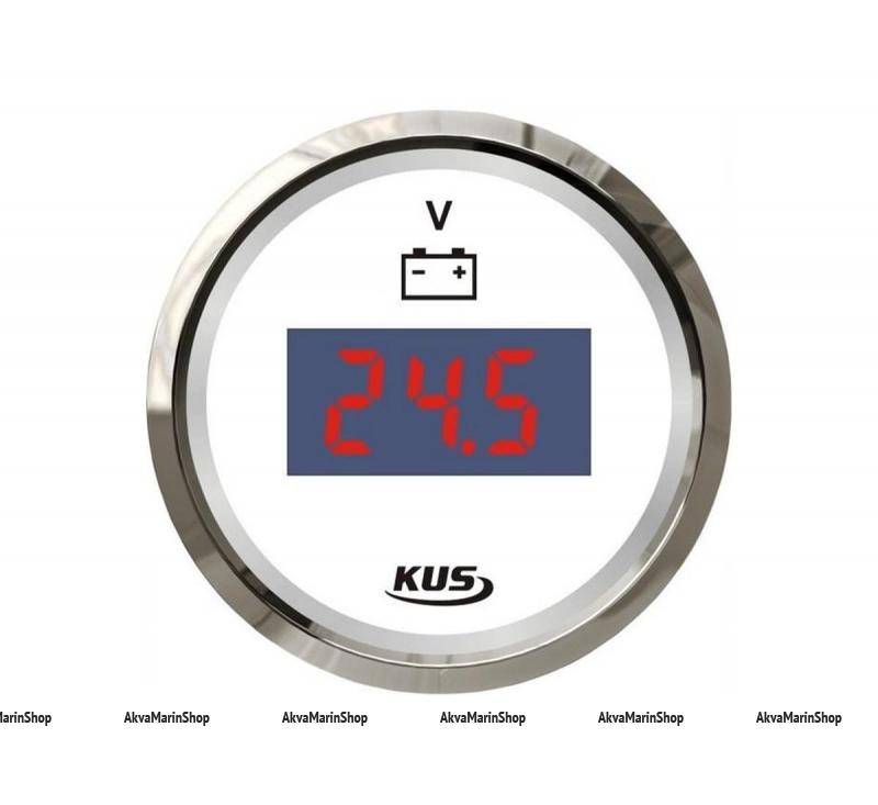 Вольтметр белый с нержавеющим ободком цифровой 8-32 В, KUS Арт WM KY23100
