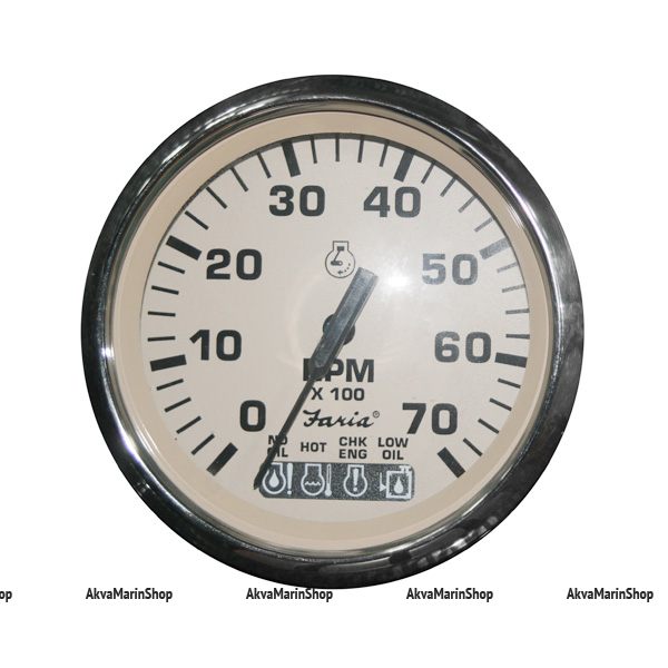 Тахометр белый с нержавеющей окантовкой аварийная сигнализация, 7000 об. FARIA, серия EURO BEIGE SS STYLE Арт TDC 35150