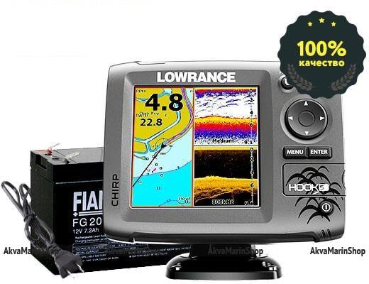Эхолот-картплоттер Lowrance Hook-5 Mid/High/DownScan Арт SM