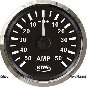 Амперметр черный с нержавеющим ободком, аналоговый, 50-0-50 А KUS Арт WM KY06007