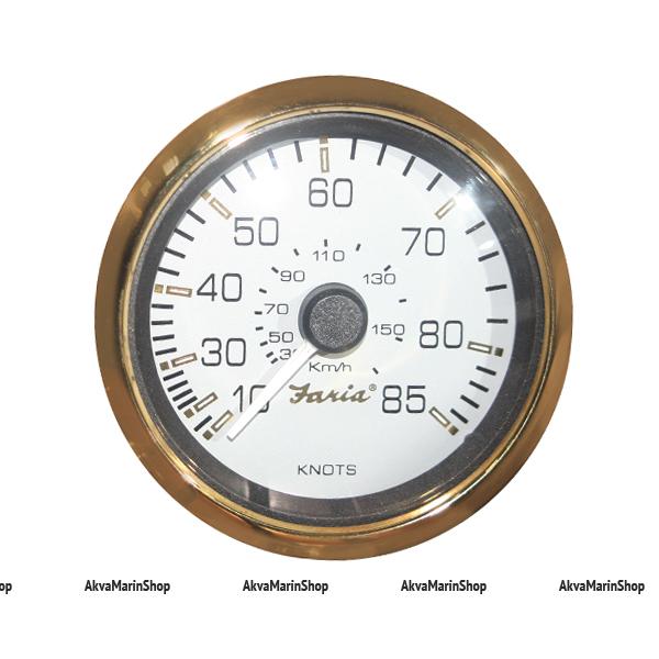 Спидометр белый с золотым ободком, 85 миль/час, серия «SIGNATURE GOLD STYLE»Faria Арт TDC 34524