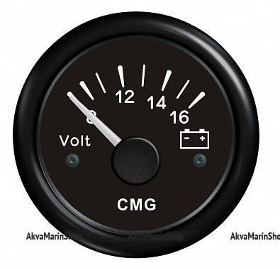 Вольтметр черный с черным ободком аналоговый 8-16 В, KUS Арт WM KY13200