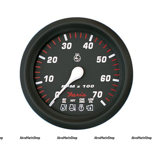 Тахометр черный с черной окантовкой аварийная сигнализация, 7000 об. FARIA, серия PRO RED STYLE Арт TDC 34650