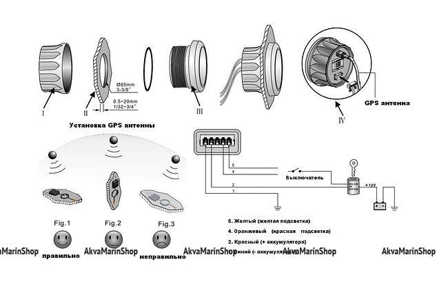 GPS-Спидометр аналоговый 0-60 узлов черный с выносной антенной WEMA Арт KMG 510055