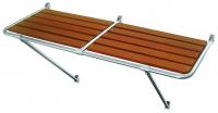 Кормовая платформа из полированной нержавеющей стали и тиковыми планками1300х550 мм Арт MM