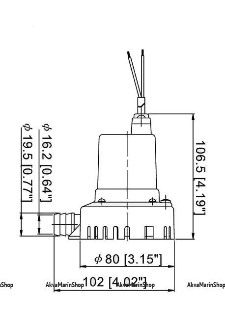 Осушительная помпа TMC 400GPH (25 л.мин.) с возможностью бокового крепления Арт KMG110011