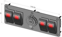 Панель четыре переключателя и розетка прикуривателя Арт CMG 310158