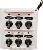 Панель из белого пластика с 6 выключателями без индикации Арт Skipper SP06A