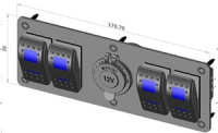 Панель на четыре переключателя с розетка с двойной синей подсветкой Арт CMG 310159