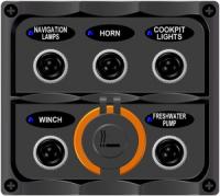 Панель на пять переключателей и гнездо прикуривателя Арт CMG 310128