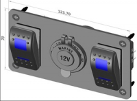 Панель с двумя переключателями и розеткой прикуривателя Арт CMG 310157