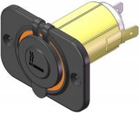 Разъём прикуривателя с прямоугольной накладкой и крышкой Арт CMG 310117