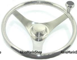 Рулевое колесо 350 мм из нержавеющая сталь с ручкой для быстрого маневрирования Арт KMG 613021
