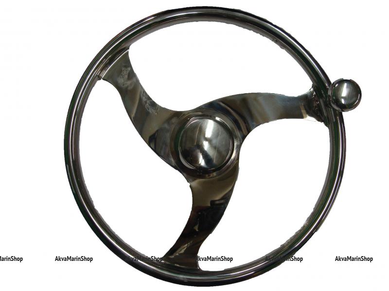 Рулевое колесо 350 мм из нержавеющей стали с ручкой для быстрого маневрирования Арт KMG613018