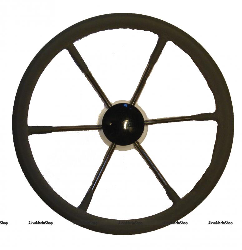Рулевое колесо 350 мм с шестью нержавеющими спицами и ободом из полиуретана Арт KMG 613015
