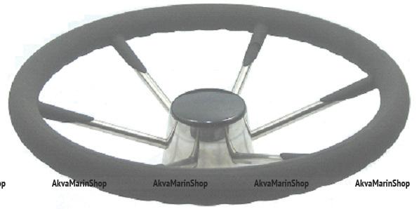 Рулевое колесо 400 мм нержавеющие спицы с выносом обода из полиуретана Арт KMG613013