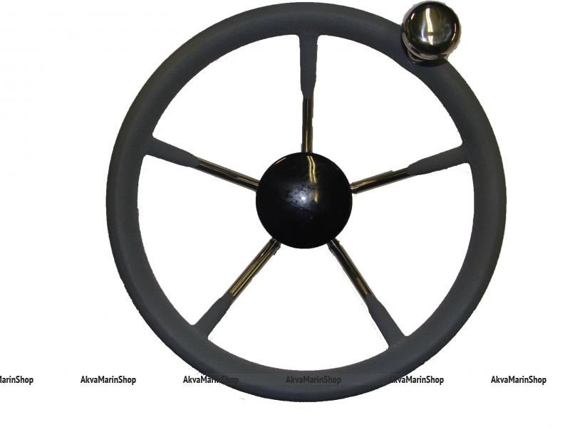 Рулевое колесо пятиспицевое 280 мм обод из полиуретана с ручкой-ленивкой для быстрого маневрирования Арт KMG