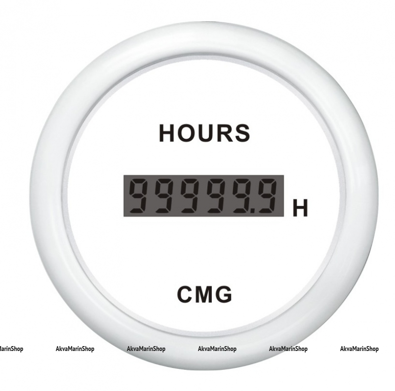 Счётчик моточасов белый с белой окантовкой цифровой WEMA Арт KMG510035