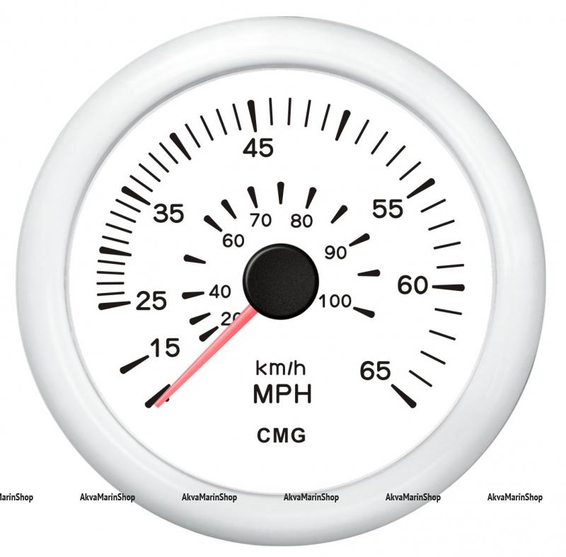 Спидометр белый с белой окантовкой манометрический WEMA Арт KMG 510041