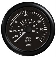 Спидометр манометрический черный с черной окантовкой до 100 км в час (65 MPH) WEMA Арт KMG 510040
