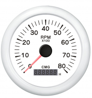 Тахометр белый с белой окантовкой со счётчиком моточасов 8000 об. WEMA Арт KMG 510037