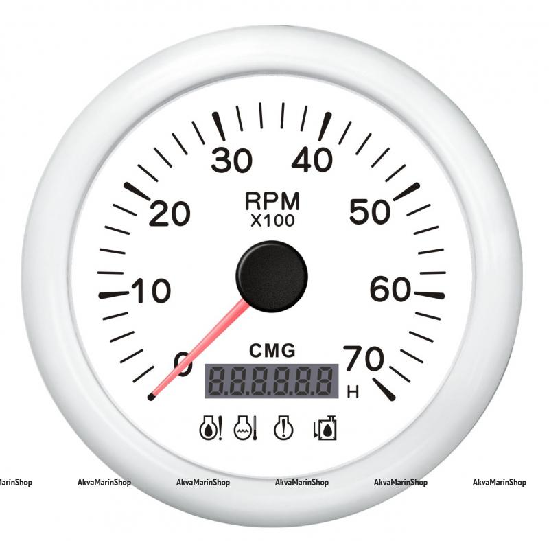 Тахометр белый с белой окантовкой со счётчиком моточасов и аварийной сигнализацией 7000 об. WEMA Арт KMG 510039